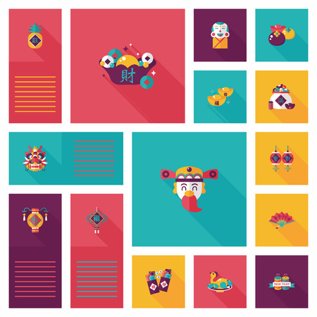 chinese new year dragon: Chinese New Year flat ui background Illustration
