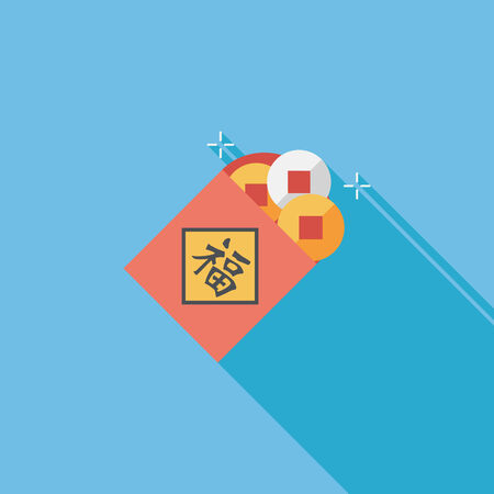 Chinese New Year flat icon with long shadow, Ancient coins lucky pendant means  wish good luck and fortune comes.