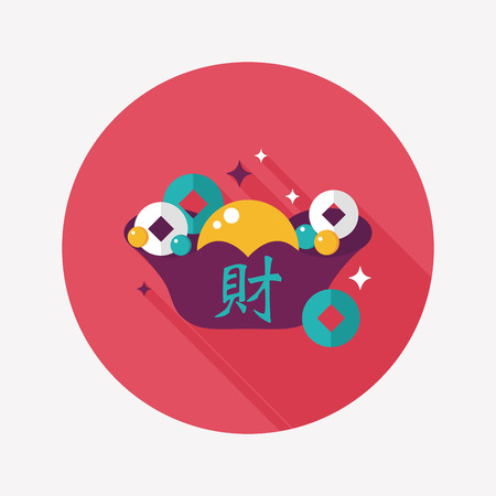 Chinese New Year flat icon with long shadow, Gold ingot with Chinese words means  wish good luck. Vector