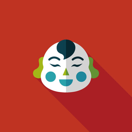 by popularity: Chinese New Year flat icon with long shadow, Maitreya doll decoration means Bless you have wealth, monasticism and popularity.