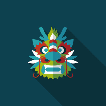 Chinese New Year flat icon with long shadow,The dragon and lion dancing head Vector