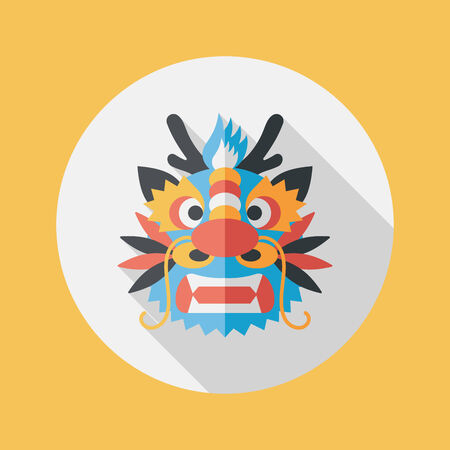 dragon year: Chinese New Year flat icon with long shadow,The dragon and lion dancing head