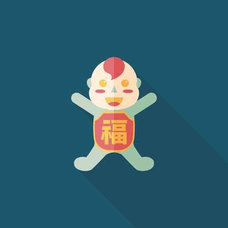 monasticism: Chinese New Year flat icon with long shadow,eps10, Maitreya doll decoration means Bless you have wealth, monasticism and popularity.