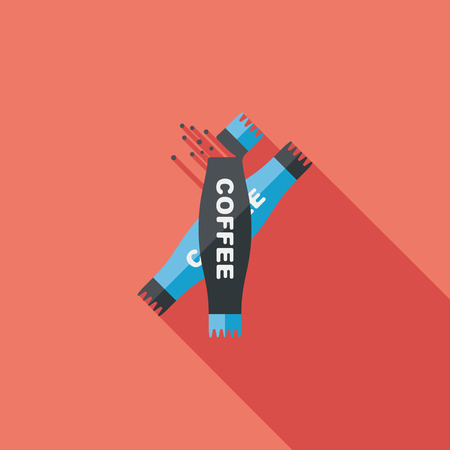 3 in 1 coffee flat icon with long shadow Vector