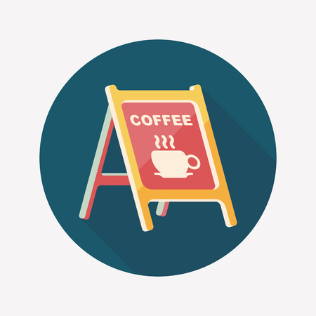 coffee shop: Coffee shop signs flat icon with long shadow