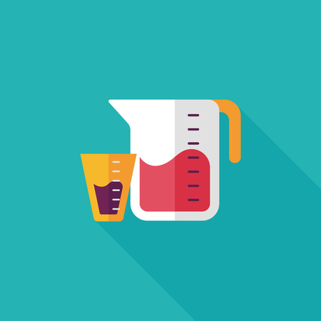 measuring cup: kitchenware measuring cup flat icon with long shadow