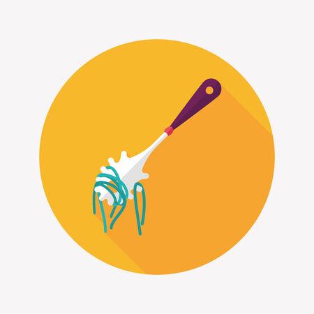 kitchenware spaghetti spoon flat icon with long shadow