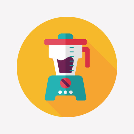 squeezer: kitchenware juicer flat icon with long shadow