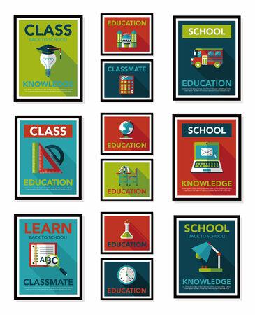 School poster flat banner design flat background set Vector