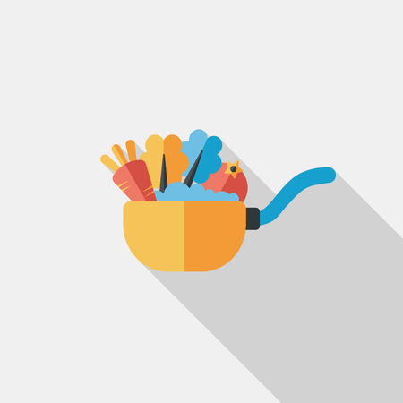 kitchenware pot flat icon with long shadow Vector