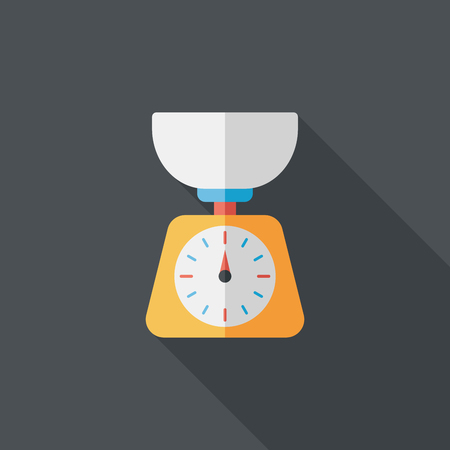 kitchenware weight scale flat Vector