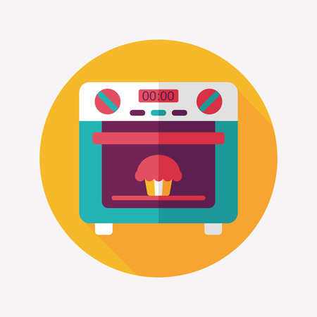 oven: kitchenware oven flat icon with long shadow,eps10