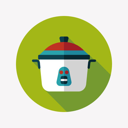steam cooker: kitchenware rice cooker flat icon