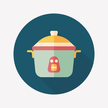 rice cooker: utensilios de cocina para cocinar arroz icono plana