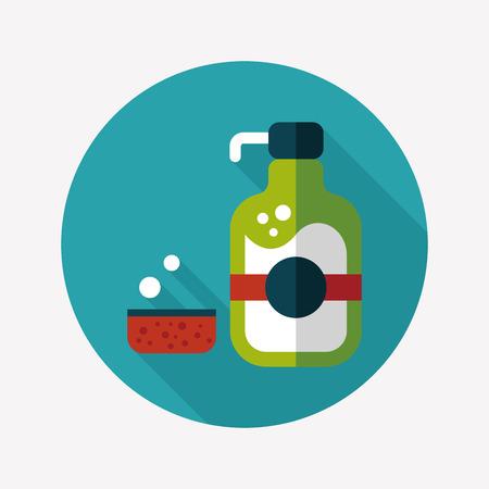 dish washing: kitchenware dish soap flat icon