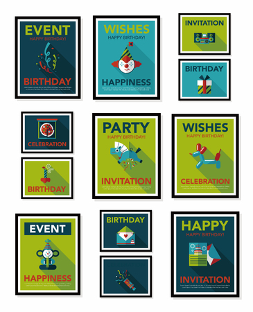 Birthday poster flat banner design flat background Vector