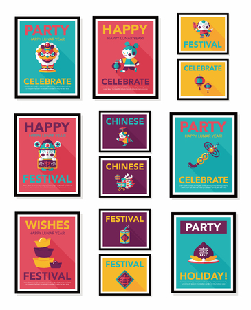 chinese symbolen: Chinese New Year poster flat banner design flat   Stock Illustratie