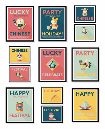 new year poster: Chinese New Year poster flat banner design flat   Illustration