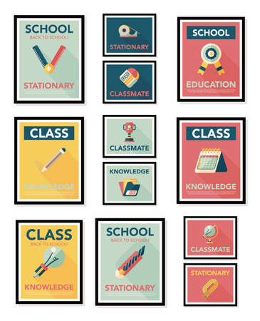 School poster flat banner design flat background   Vector