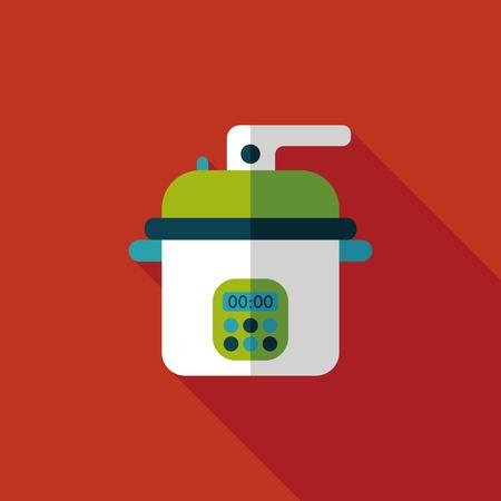 rice cooker: utensilios de cocina cocina de arroz plana Vectores