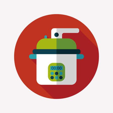 rice cooker: icono plana utensilios de cocina cocina de arroz con larga sombra, eps10 Vectores