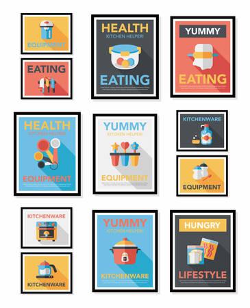 Kitchenware poster flat banner design