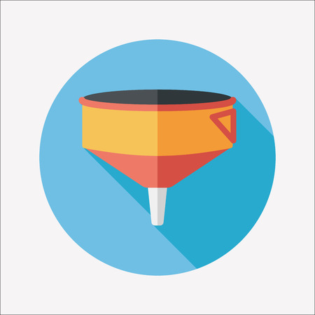 liquidizer: kitchenware funnel flat icon with long shadow Illustration