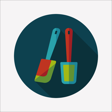beater: kitchenware beater flat icon with long shadow Illustration