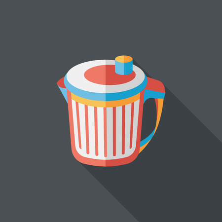 dispose: kitchenware garbage can flat icon with long shadow