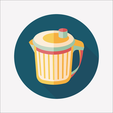 wastepaper: kitchenware garbage can flat icon with long shadow
