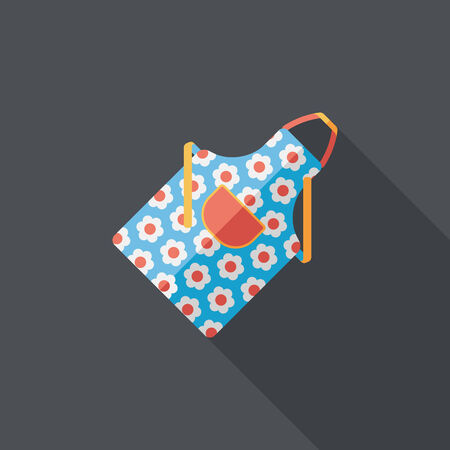 specific clothing: kitchenware apron flat icon with long shadow Illustration
