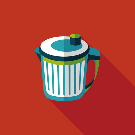 to refuse: kitchenware garbage can flat icon with long shadow