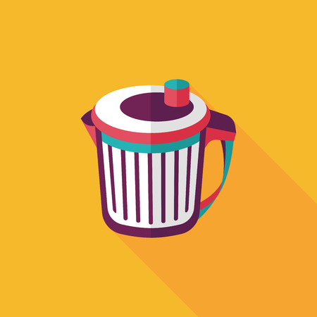 to refuse: kitchenware garbage can flat icon with long shadow,eps10