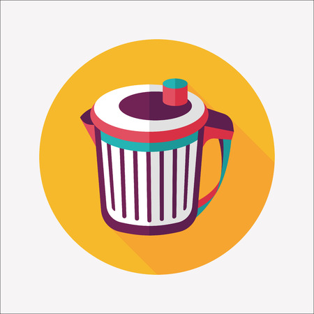 wastebasket: kitchenware garbage can flat icon with long shadow