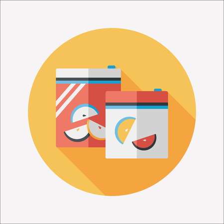 food preservation: kitchenware zipper bags flat icon with long shadow