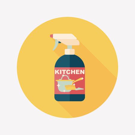 dish washing: kitchenware bottle soap flat icon with long shadow Illustration
