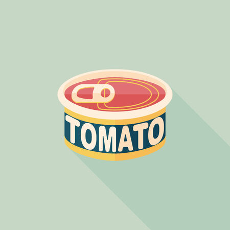 tinned: kitchenware tomato can flat icon with long shadow,eps10