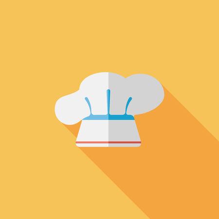 kitchener: kitchenware chef hat flat icon with long shadow,eps10 Illustration