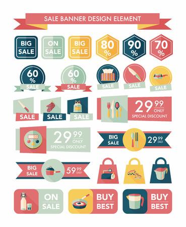 sopping: Kitchen sale banner design flat background,eps10 Illustration