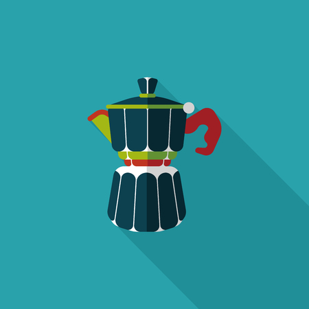 coffeepot: coffee kettle flat icon with long shadow