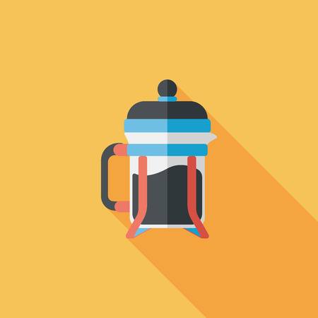 coffee maker flat icon with long shadow