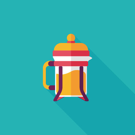 with coffee maker: coffee maker flat icon with long shadow