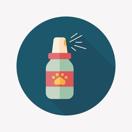 flea: Aerosoles de la pulga para mascotas icono plana wtih larga sombra