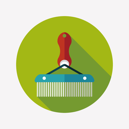 Pet dog brush flat icon with long shadow,eps10 Vector