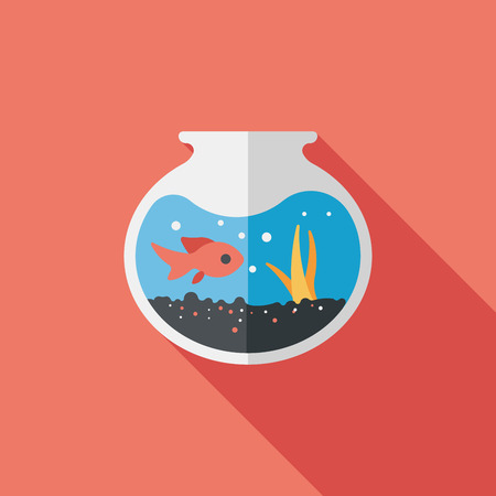 goldenfish: Pet fish bowl flat icon with long shadow Illustration