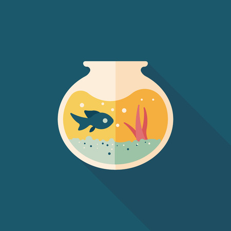 gold fish bowl: Pet fish bowl flat icon with long shadow Illustration