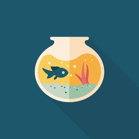Pet ciotola di pesce icona piatto con una lunga ombra