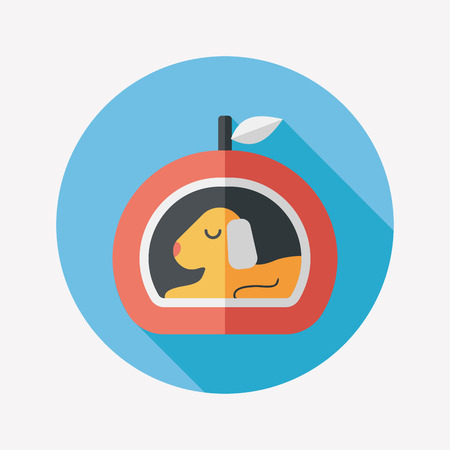 Pet bed flat icon with long shadow Vector