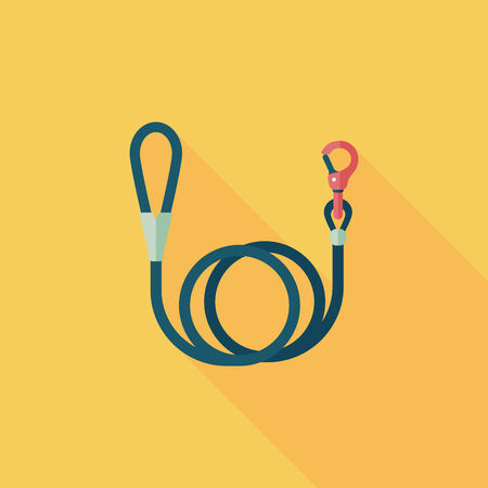 Pet dog lead flat icon with long shadow Vector