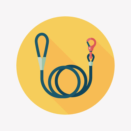 Pet dog lead flat icon with long shadow,eps10 Vector